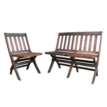 Set of Single and Tandem Oak Folding Chairs C1935