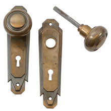 Worn Brass Art Deco Door Knob Set C1925