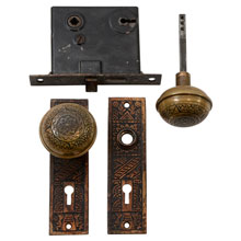 Sargent Wrought Brass Door Set W/ Plates and Mortise Lock C1890