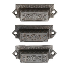 Trio of Cast Iron Eastlake Bin Pulls W/ Floral Motif C1885