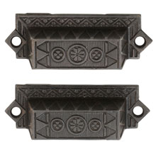 Pair of Cast Iron Eastlake Bin Pulls W/ Floral Motif C1885