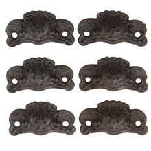 Set of 6 Leafy Bin Pulls W/ Lyre Motif in Cast Iron C1870