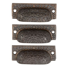 Set of 3 Ornate Cast Iron Bin Pulls C1900