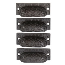 Set of 4 Cast Iron Bin Pulls by Reading Co C1900