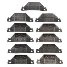 Set of 11 Renaissance Revival Cast Iron Bin Pulls C1869