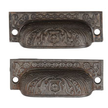 "Pair of Cast Iron ""Windsor"" Bin Pulls by Reading, c1885"