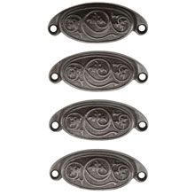 Set of 4 Rounded Cast Iron Bin Pulls W/ Swirling Leaf Motif C1880