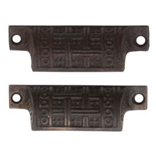 Pair of Cast Iron Eastlake Bin Pulls W/ Basketweave Motif C1885