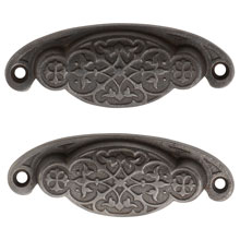 Pair of Extra Large Rounded Cast Iron Bin Pulls C1880
