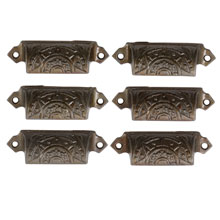 "Set of 6 Polished ""Starburst"" Bin Pulls By Corbin Hardware C1880"