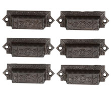 Set of 6 Cast Iron Eastlake Bin Pulls W/ Floral Motif C1885
