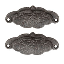 Pair of Gently Scalloped Renaissance Revival Cast Iron Bin Pulls C1870