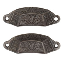 Pair of Renaissance Revival Ornate Cast Iron Bin Pulls C1870
