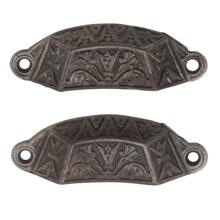 Pair of Renaissance Revival Ornate Cast Iron Bin Pulls C1870