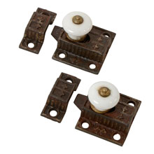 Pair of Petite Cupboard Spring Latches W/ Porcelain Knobs, c1875