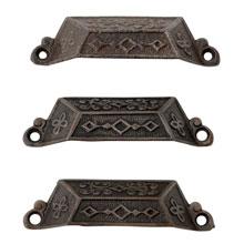 Set of 3 Extra Large Renaissance Revival Cast Iron Bin Pulls C1870