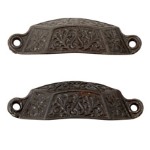 Pair of Large Cast Iron Renaissance Revival Bin Pulls C1870
