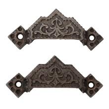 Pair of Large Renaissance Revival Cast Iron Bin Pulls C1870