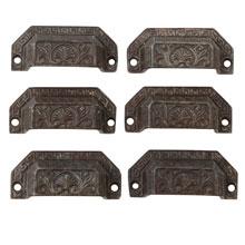 Set of 6 Neo-Grec Revival Cast Iron Bin Pulls C1870