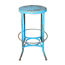 Stationary Height Bright Blue Toledo Stool C1935