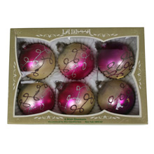Set of 6 Purple and Gold Lanissa Ornaments W/ Original Box C1950