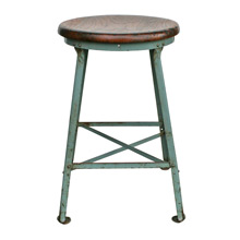 Factory Stool W/ Robins Egg Blue Base and Oak Seat C1925