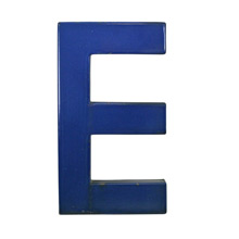 Blue Enamel Sign Letter E C1950