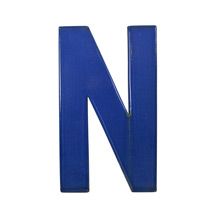 Blue Enamel Sign Letter N C1950