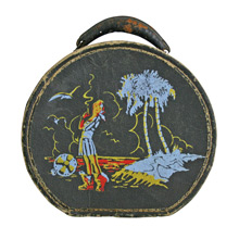 Small Hat Case W/ Hand-Stenciled Beach Scene C1960