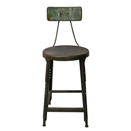 Weathered Shop Stool W/ Back Rest C1930