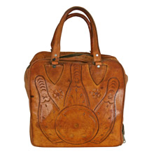 Hand-Tooled Leather Bowling Ball Bag C1965