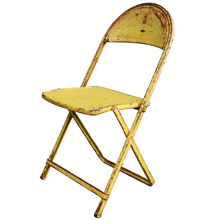 Vintage Yellow Metal Folding Chair C1960