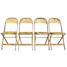 Set of 4 Yellow Metal Folding Chairs W/ Diamond Motif C1960s