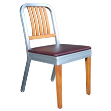 Shaw Walker Maple and Aluminum Chair w/ Crimson Seat c1959