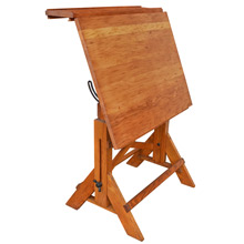 Petite Oak and Maple Drafting Table w/ Articulating Top c1930