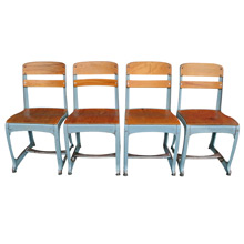 Set of Four Schoolhouse Chairs by American Seating Co C1930