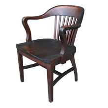 Solid Cherry Library Armchair W/ Dark Stain C1930