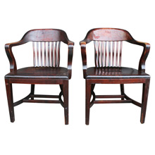 Pair of Solid Oak Library Armchairs C1925