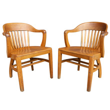 Pair of Blonde Oak Library Armchairs C1938
