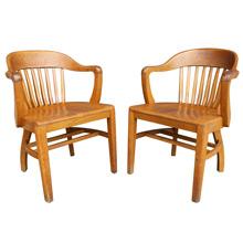 Pair of Blonde Oak Library Armchairs C1938