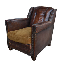 Petite Antique Leather Club Chair c1930