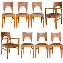 Set of 8 Oak and Leather Art Deco Dining Chairs c1930