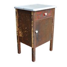 Worn Steel Medical Cabinet w/ Enamel Top c1925