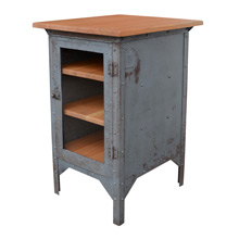 Raw Steel Medical Cabinet w/ Fir Wood Top and Shelves c1940s