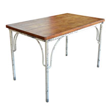 Worn Industrial Table w/ Maple Top c1925