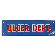 Mid-Century NOS Ulcer Department Sign in Blue c1965