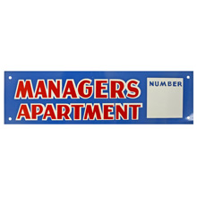 Mid-Century NOS Managers Apartment Sign in Blue c1965