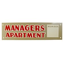 Mid-Century NOS Managers Apartment Sign in Silver c1965