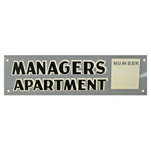 Mid-Century NOS Managers Apartment Sign in Grey c1965