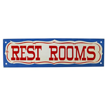 Mid-Century NOS Restrooms Sign in Blue c1965